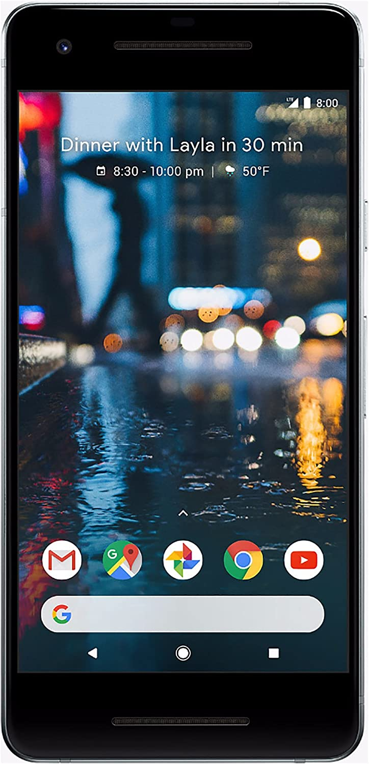 """Google Pixel 2, 64GB, Clearly White, GSM Unlocked Android Smartphone, 5"""" OLED Display, Fingerprint, 12.2MP+ 8MP Cameras (Renewed)"""
