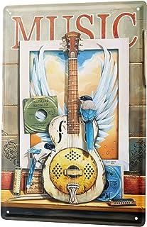 LEotiE SINCE 2004 Targhe Cartello Targa in Metallo Decorazione della Parete Cinema G. Huber Musica Chitarra