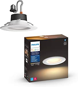 Philips Hue White Ambiance LED Smart Retrofit 5/6-inch Recessed Downlight, Bluetooth & Zigbee compatible, Warm-to-cool white light (Hue Hub Optional)