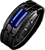 Binary Matrix Blue LED Digital Watch Mens Classic Creative Fashion Black Plated Wrist Watches