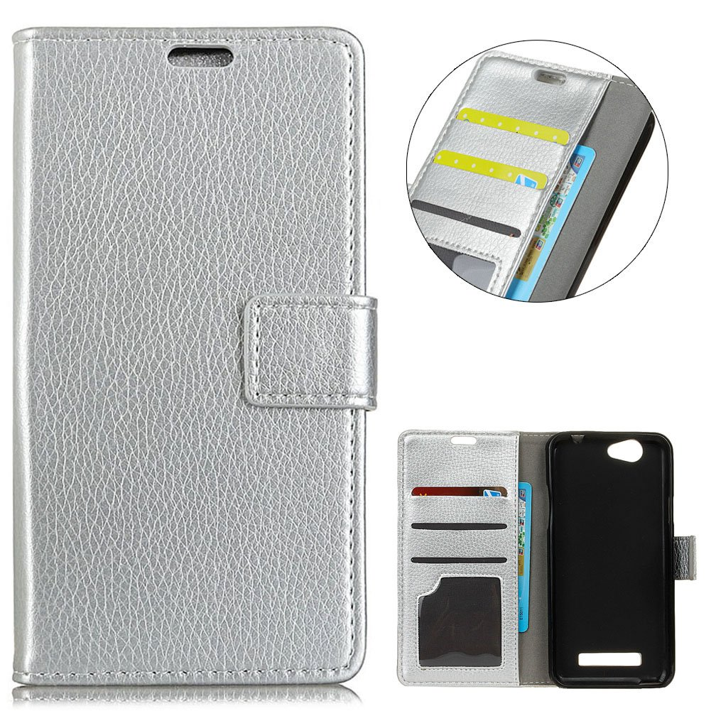 KM-WEN® Case for Wileyfox Spark X (5.5 Inch) Book Style Retro Litchi Pattern Magnetic Closure PU Leather Wallet Case Flip Cover Case Bag with Stand Protective Cover Silver WSDE82188