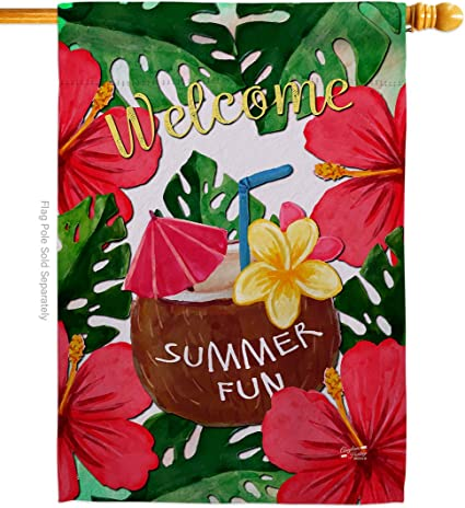 Amazon Com Angeleno Heritage Welcome Summer Fun Happy Hour Drinks Everyday Beverages Impressions Decorative Vertical House Flag 28 X 40 Printed In Usa Garden Outdoor