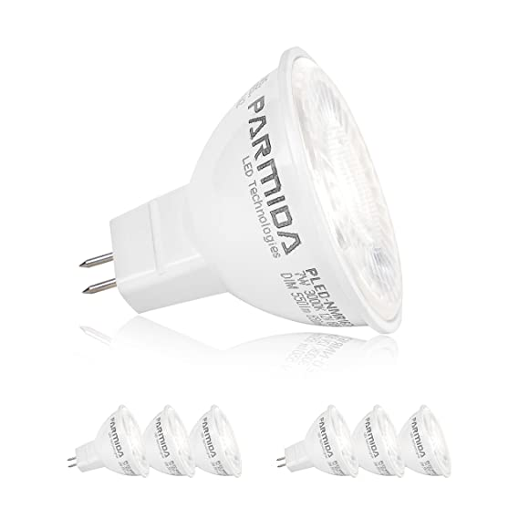 6 Pack Parmida Led Mr16 Bulb Gu5 3 Base Dimmable 7w 50w
