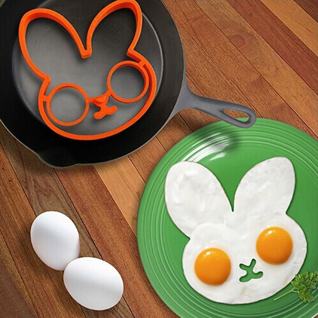 Purple Owl Shaped Egg Ring /& Orange Rabbit Shaped Egg Ring Set of 2 HomeyHouse Kitchen Cooking Tools Silicone Fired Egg Mold Ring