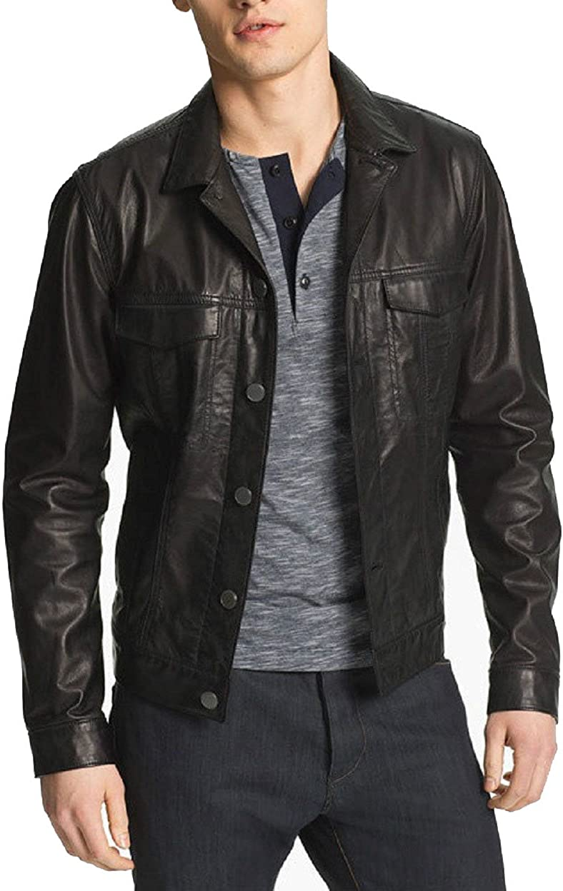 New Mens Leather Jacket Slim Fit Biker Motorcycle Genuine Leather Coat LFC455 L