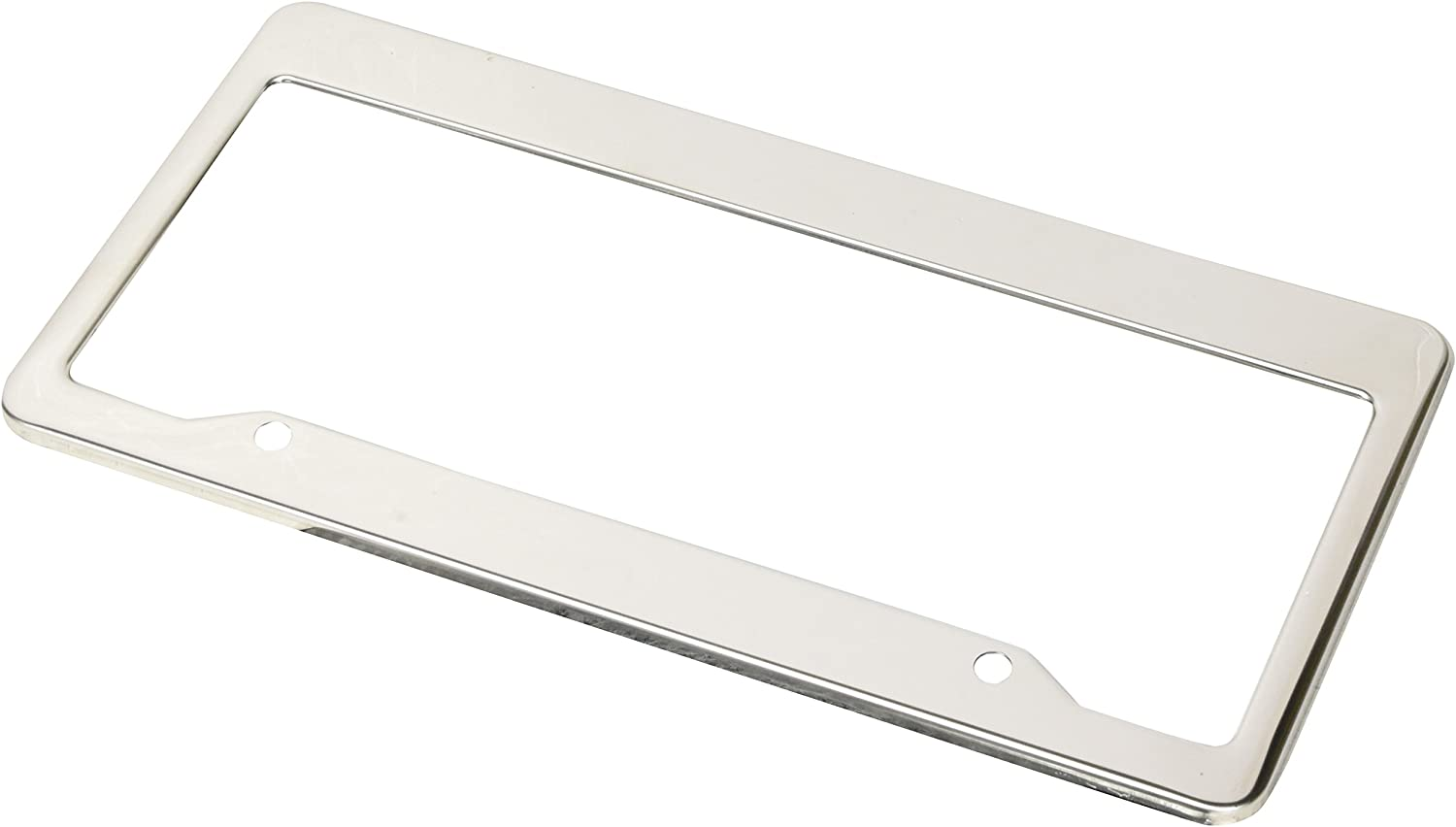 Lumenon License Plate Frame Stainless Steel Polished 2 Pack with Two Holes and Chrome Screw Caps