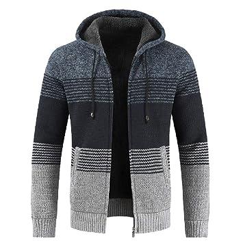 Hombres y niños invierno chaqueta Prendas de punto con capucha,Sonnena ⚽ casual chaqueta punto