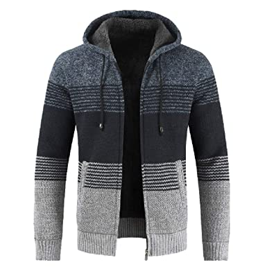 8e14e4e0197c Herbst Winter Strickjacke MEIbax Herren Packwork Hooded Zipper Jacke  Langarm-Mantel Cardigan Übergangsjacke Outwear