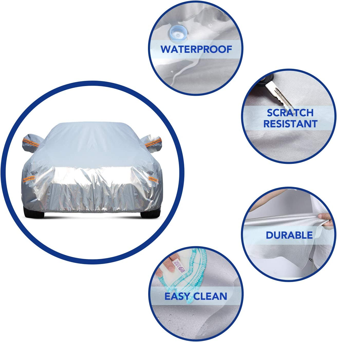 186-193 TWING Car Cover Universal Full Car Covers for Automobiles Waterproof Windproof All Weather Scratch Resistant Outdoor UV Protection with Adjustable Straps for Sedan Fits up to 193/'/'