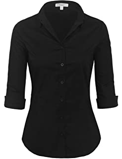 7d083253ec2 KOGMO Womens Long Sleeve Button Down Shirts Office Work Blouse (S-3X ...