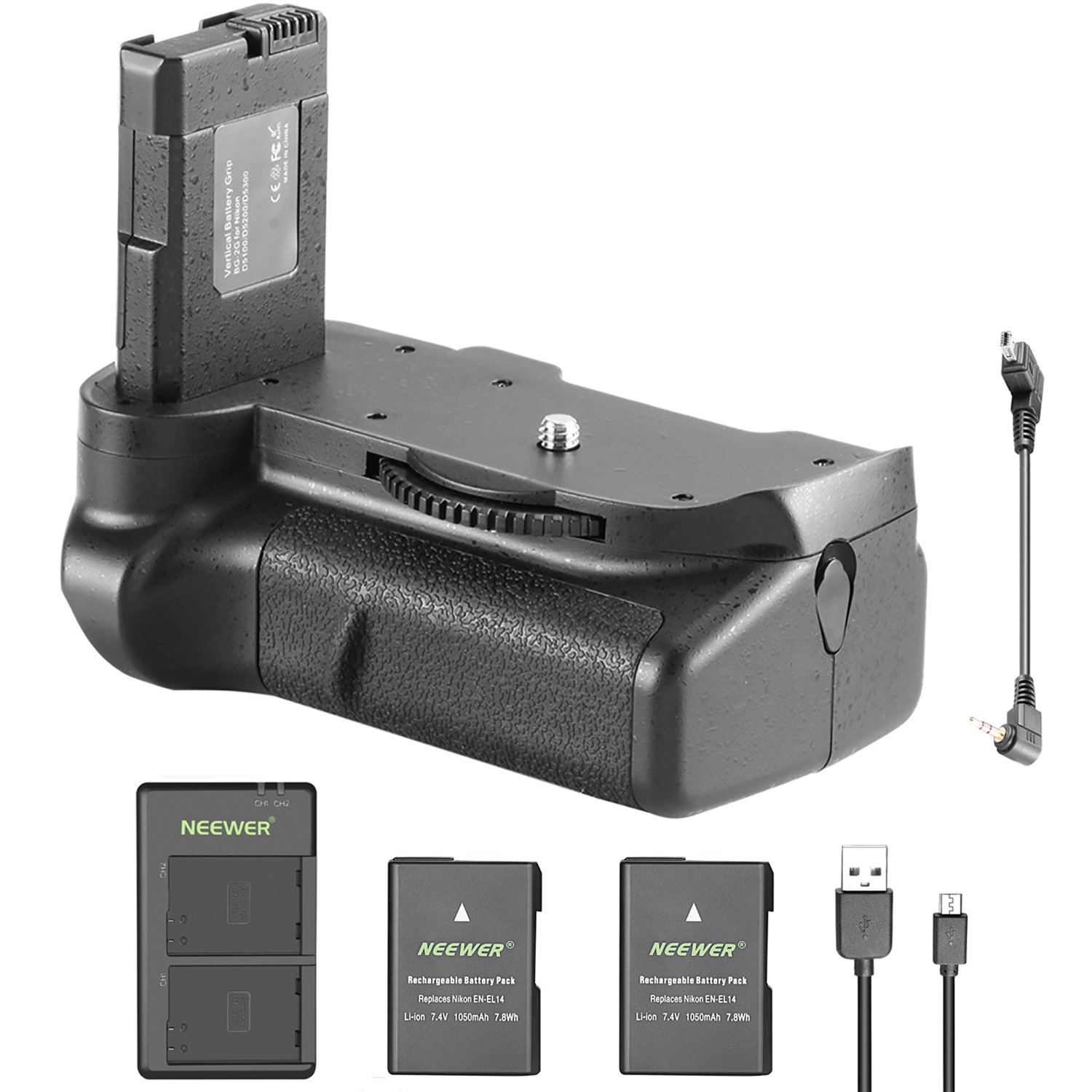 Neewer DSLR Vertical Battery Grip and 2 Pieces 1050mAh EN-EL14 Replacement Li-ion Battery with USB Input Dual Charger for Nikon D5100 5200 D5300 DSLR Camera 90091165@@os1