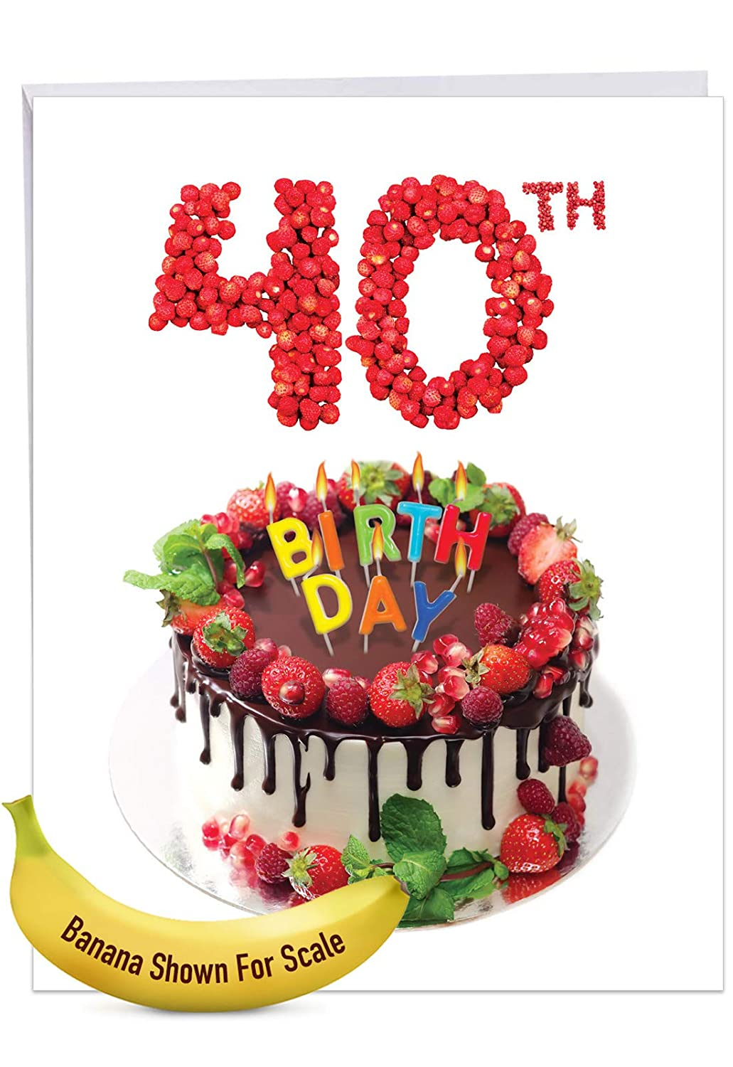 Jumbo Milestone Birthday Card Big Day 40 Featuring Photographs Of Fantastically Frosted And Colorful Cakes With Envelope Large Size 85 X 11