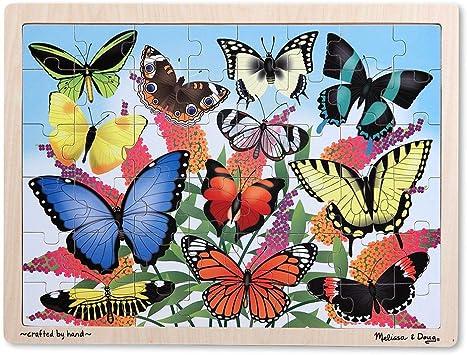 Melissa & Doug Butterfly Garden Wooden Jigsaw Puzzle (48 Pieces),Multicolor