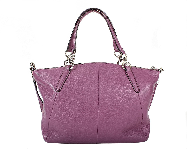 3cdb4ba3e35e Amazon.com  Coach F36675 Leather Small Kelsey Shoulder Bag Purple (Mauve)   Clothing