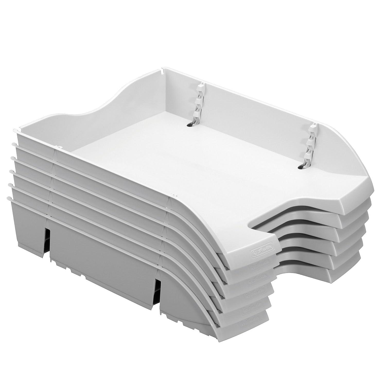 Herlitz 11247228 A4-C4 - Lote de bandejas portadocumentos (6 unidades, plástico reciclado), color gris: Amazon.es: Oficina y papelería