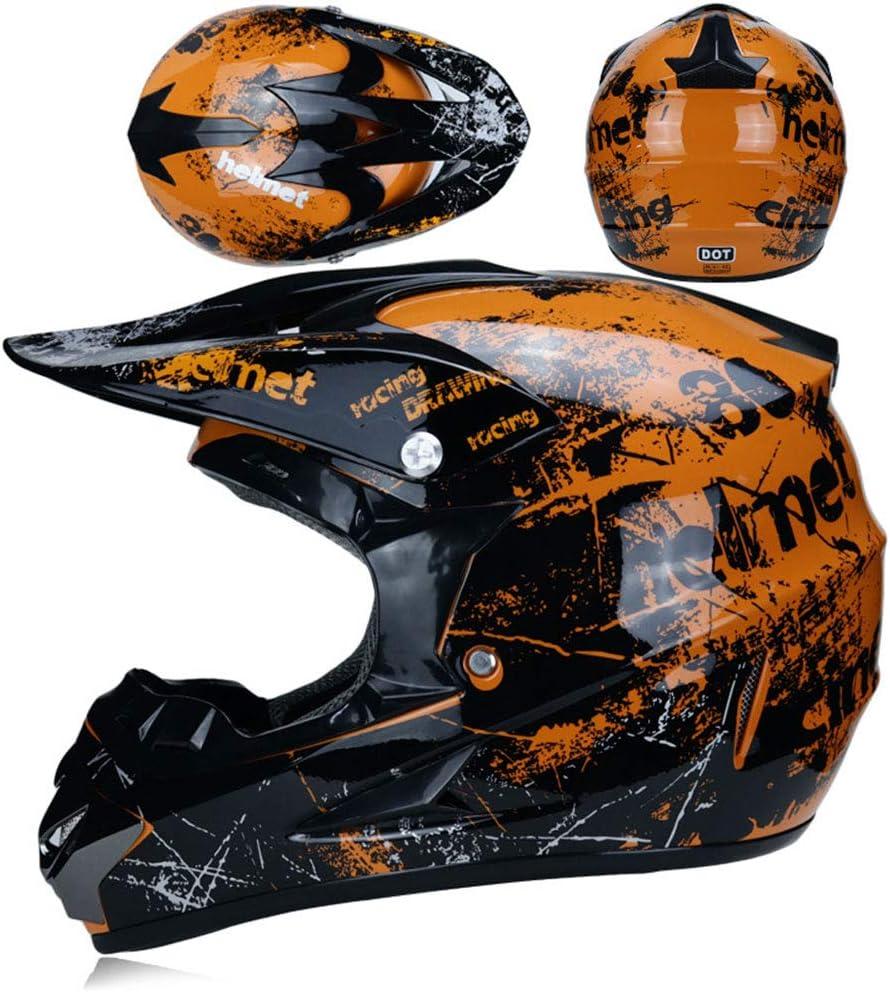 Casco di Sicurezza Stereo Traspirante Include Occhiali//Guanti//Maschera,B,XL Moto Casco Cross Country D O 58~59cm T Certificazione Endurance Race ATV ATV Casco