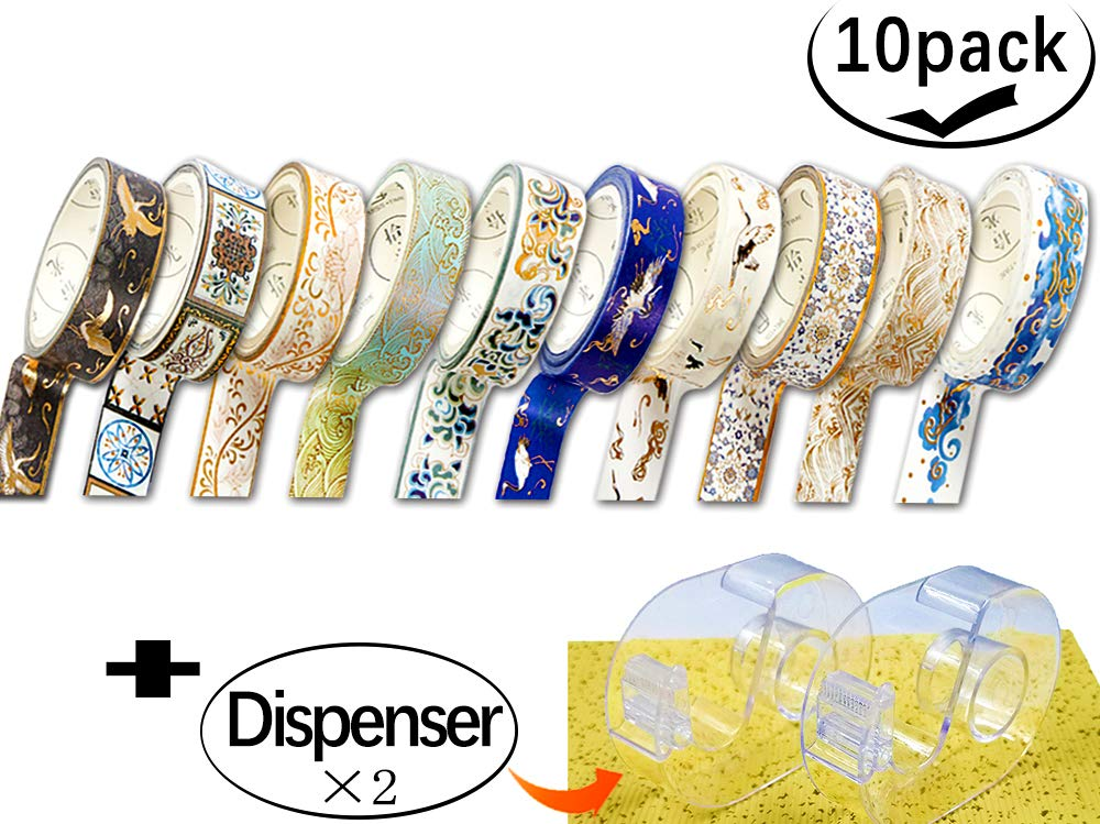 Elepa Washi Tape - Craft Masking Tape, Creative Gold Washi Tape, Brocade Gilding, Used for Album, Diary, DIY, Decorative Stickers, Set of 10 Rolls. 2pcs Stylish Tape Dispenser Included (Mixed Design)