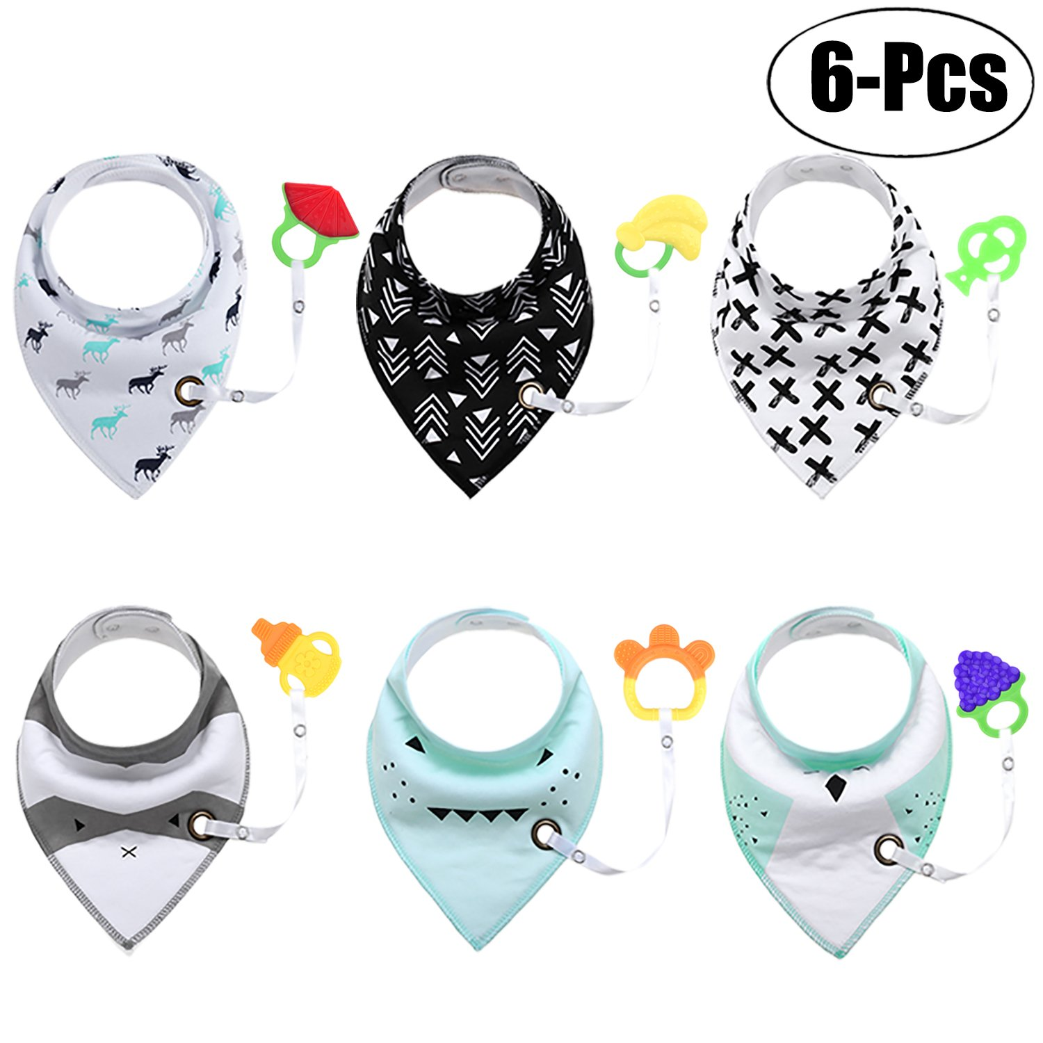 Zoylink 6PCS Baby Cotton Bib Baby Bandana Cute Print Soft Absorbent Drool Bib with Baby Teether Toy
