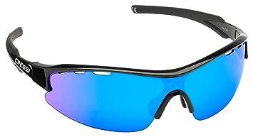 Cressi Vento Gafas de Sol, Unisex Adulto, Negro/Lentes Reflejado Azul, Talla