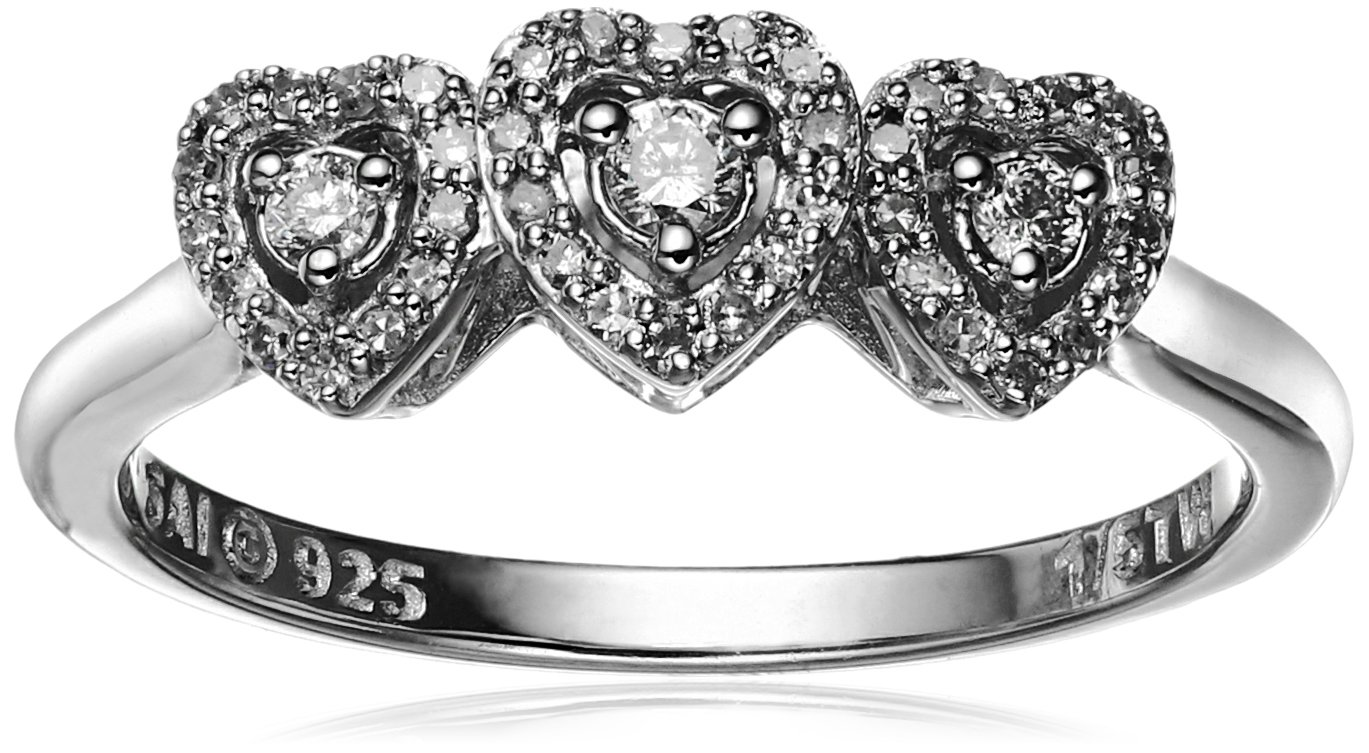 Sterling Silver Diamond 3-Stone Heart Ring (1/5cttw, I-J Color, I2-I3 Clarity), Size 7