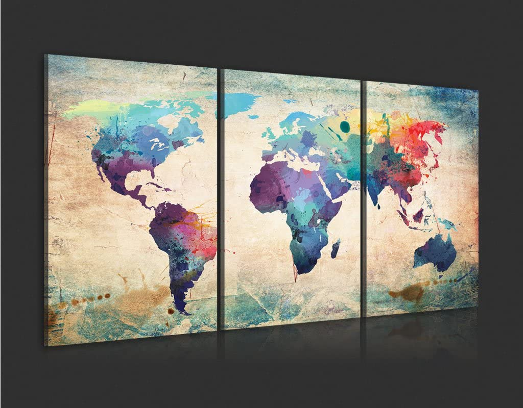 B/&D XXL murando Impression sur Toile intissee 60x30cm 3 Pieces Tableau Tableaux Decoration Murale Photo Image Artistique Photographie Graphique Carte du Monde 020113-50