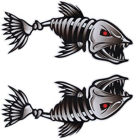Winomo 2 X 25 4 X 12 7 Cm Fisch Skelett Aufkleber Vinyl Autoaufkleber Für Kajak Angeln Auto Küche Haushalt