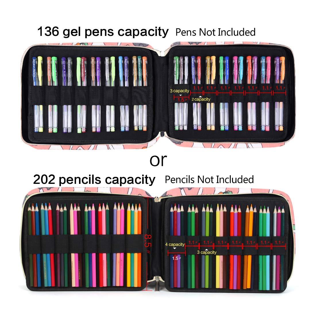 202 Colored Pencils Pencil Case 136 Color Gel Pens Pen Bag or Marker Organizer Universal Artist Use Supply Zippered Large Capacity Slot Super Big Professional Storage Forest-Friends