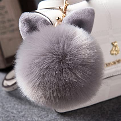 Amazon.com  12 cm Rabbit Ears Fur Ball Bag Charms with Golden Keyring Pom  Pom 1f17ef717