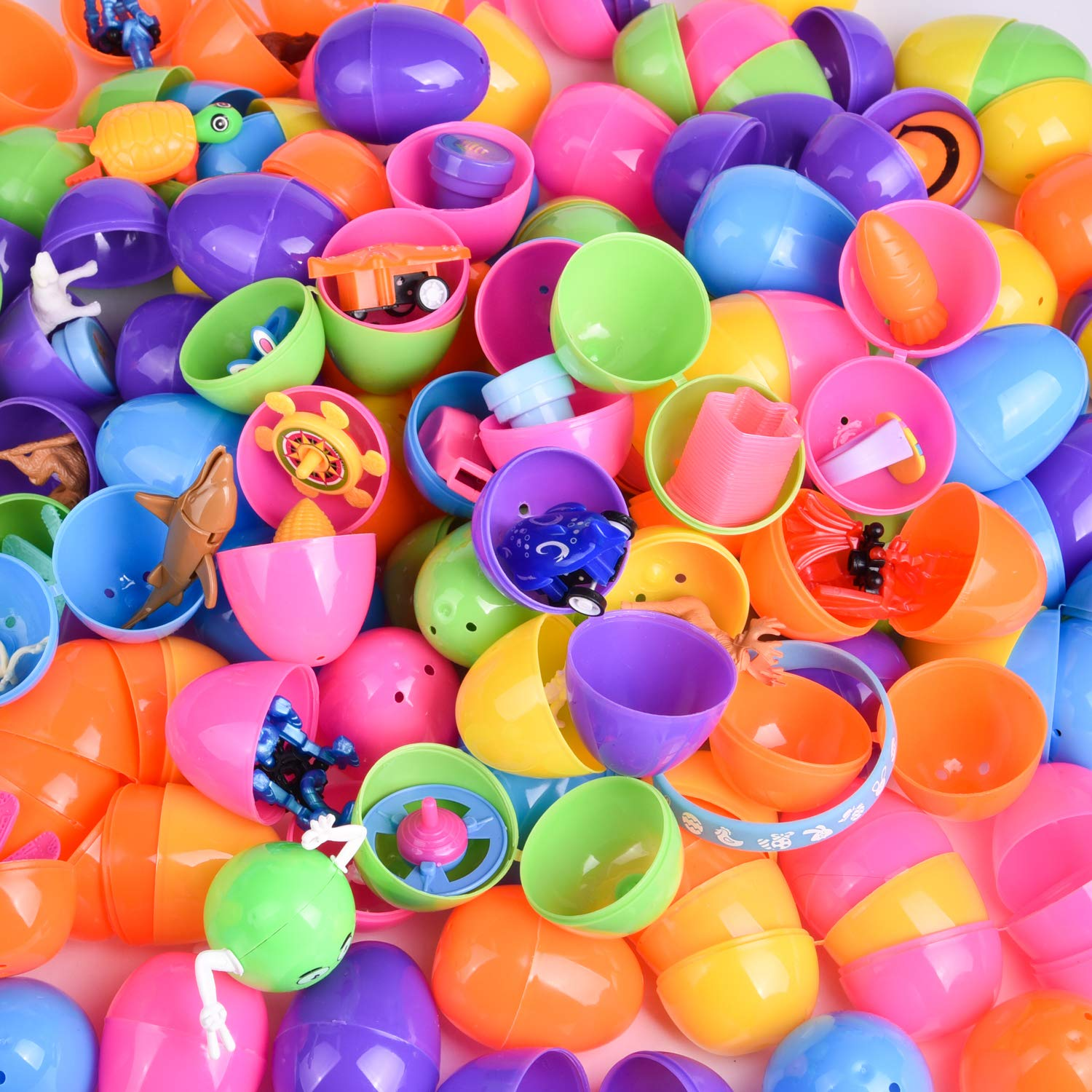100PCs Easter Egg Stuffers Mini Toys Filled Easter Eggs Easter Egg Fillers Pinata Toys and More Easter Hunt Easter Basket Stuffers with Small Toys Goodie Bags
