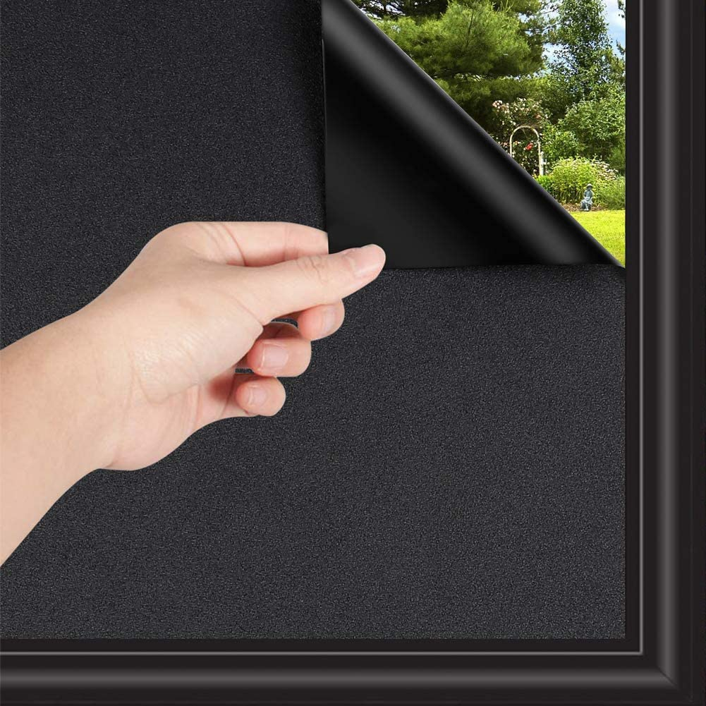 Total Blackout Window Film, 100% Light Blocking Non Adhesive No Residue Removable Opaque Static Cling Privacy Glass Film for Home Bedroom Darkening Heat Control Window Tint (35.4 Inch x 16.4 Feet)