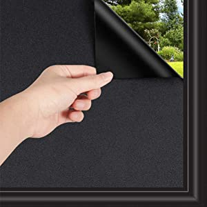 Total Blackout Window Film, 100% Light Blocking Non Adhesive No Residue Removable Opaque Static Cling Privacy Glass Film for Home Bedroom Darkening Heat Control Window Tint (29.5In x 6.56Ft)