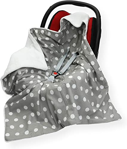 COSYTOES FOOTMUFF Double SM Star - Pink//Grey CAR SEAT Blanket Sided 100 x 100cm Hooded Blanket with SEAT Belt Holes Cover