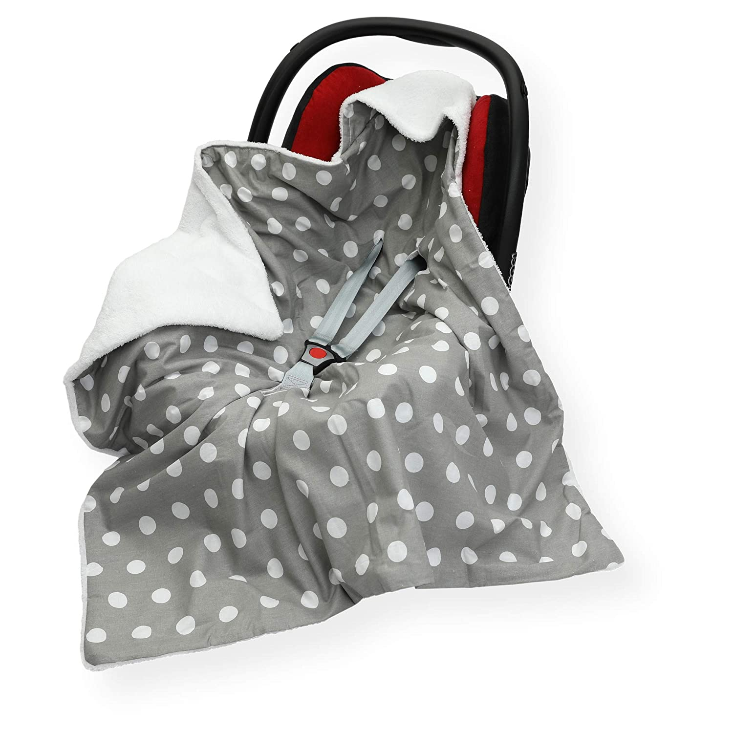 Cover SM Star - Pink//Grey Sided 100 x 100cm Hooded Blanket with SEAT Belt Holes FOOTMUFF Double COSYTOES CAR SEAT Blanket
