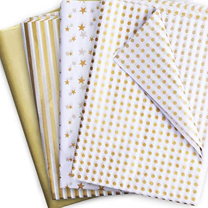 UNIQOOO 60 Sheets Premium Gold Polka Dots Tissue Gift Wrap Paper 20 X 26 Easy and Fast Gift Wrapping Accessory
