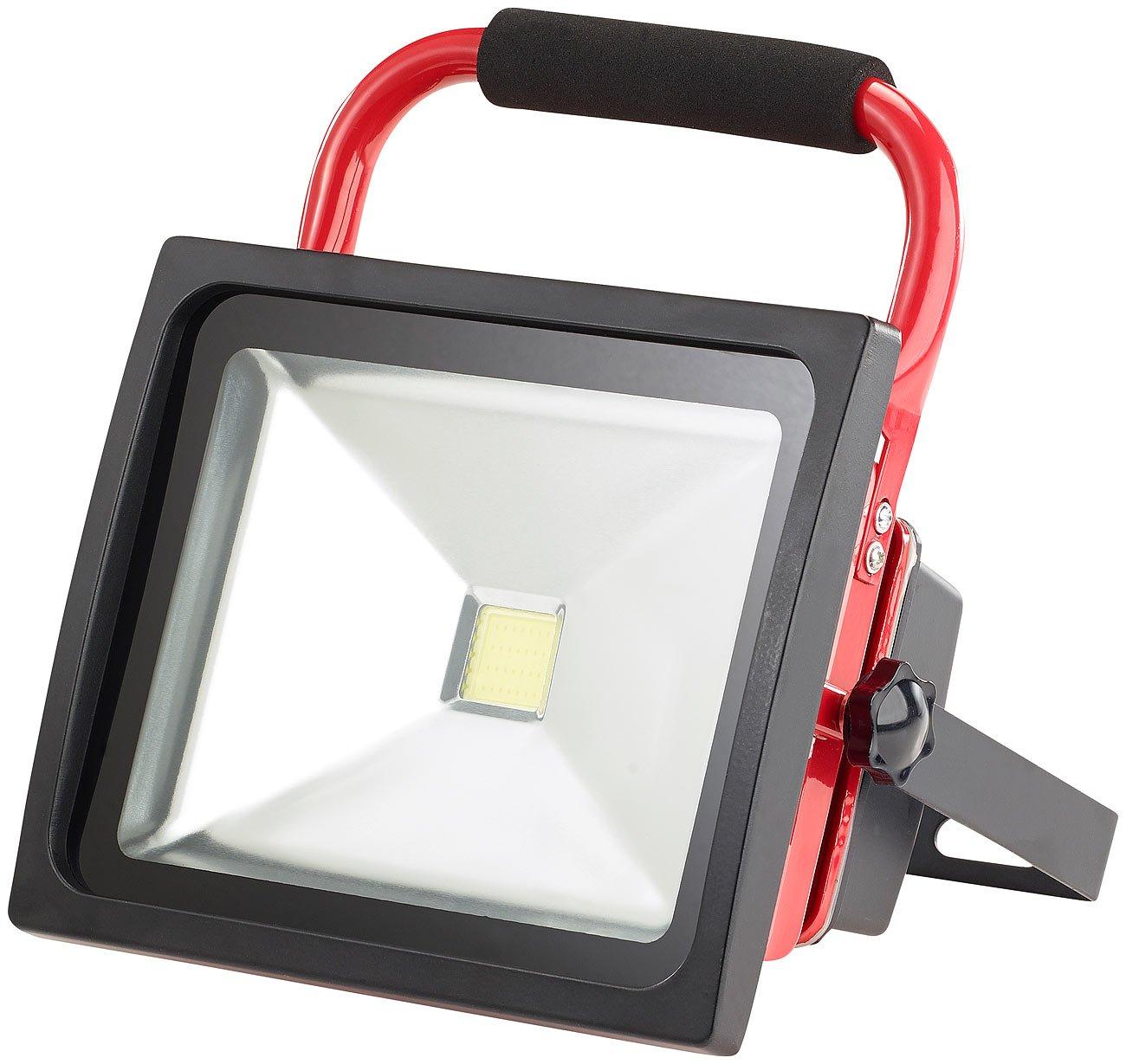 1.500 lm 30 W LED Strahler Akku Luminea Fluter Baustelle: Wetterfester LED-Akku-Baustrahler Stand-Sockel IP65