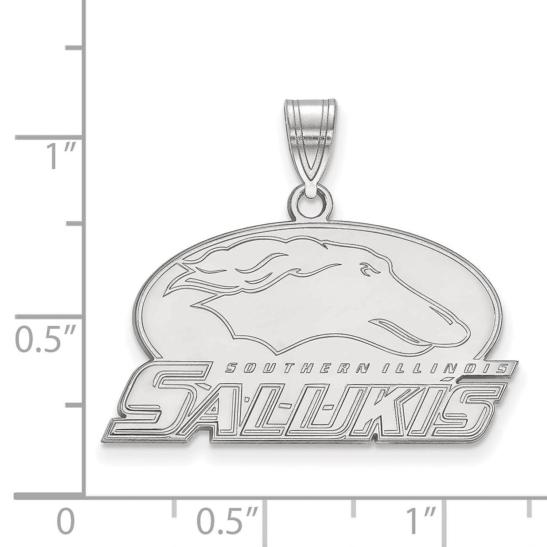 925 Sterling Silver Rhodium-plated Laser-cut Southern Illinois University Medium Pendant
