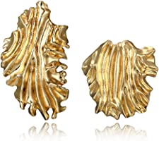 ShapeW 1 Pair Golden Irregular Large Curved Leaf Earrings Geometric Mismatch Jewelry