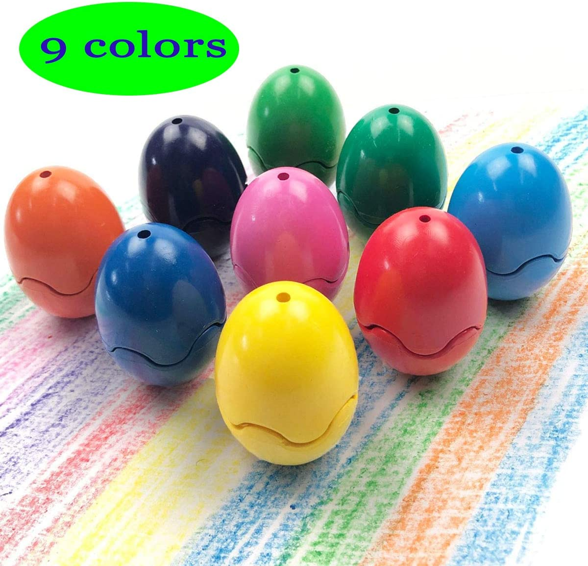 Jofan 9 Colors Crayons Eggs Easter Eggs Easter Basket Stuffers Gifts for Toddlers Kids Boys Grils
