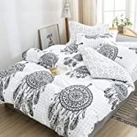 Mandala Dream Catcher Quilt Cover Set - All Size Bed Ultra Soft Quilt Duvet Doona Cover Set with Pillowcase (Single)
