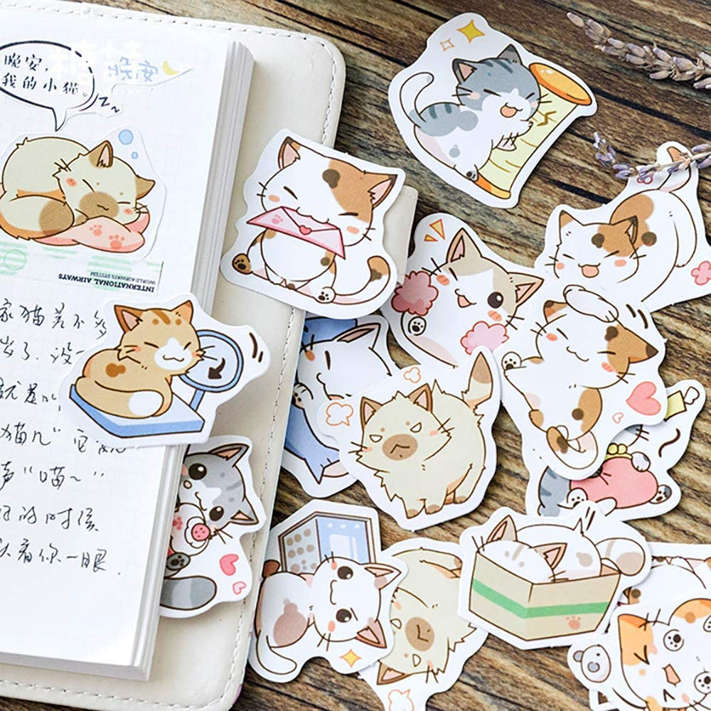 Small Size Scrapbook Stickers, 45pcs Doraking Boxed DIY Decoration Super Cute Cats Stickers for Laptop, Planners, Scrapbook, Suitcase, Diary, Notebooks, Album(Sweet Cats, 45pcs/ Box)