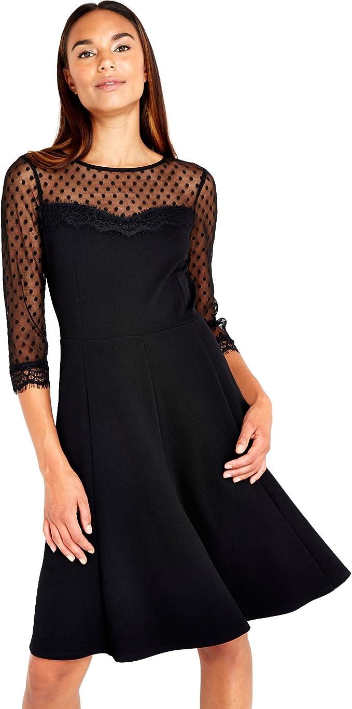 Wallis Damen Kleid Polka Dot Mesh Fit and Flare, Schwarz (Black