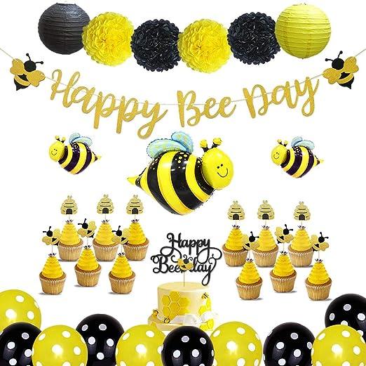 Locca Bienenen Party Dekorationsset Für Geburtstag Babyparty Gender Reveal Party Bienenen Sonnenblumen Motto Party Supplies Mit Happy Bee Day Banner Tortenaufsatz Hummel Luftballons Für Kinder 1 2 3 Spielzeug