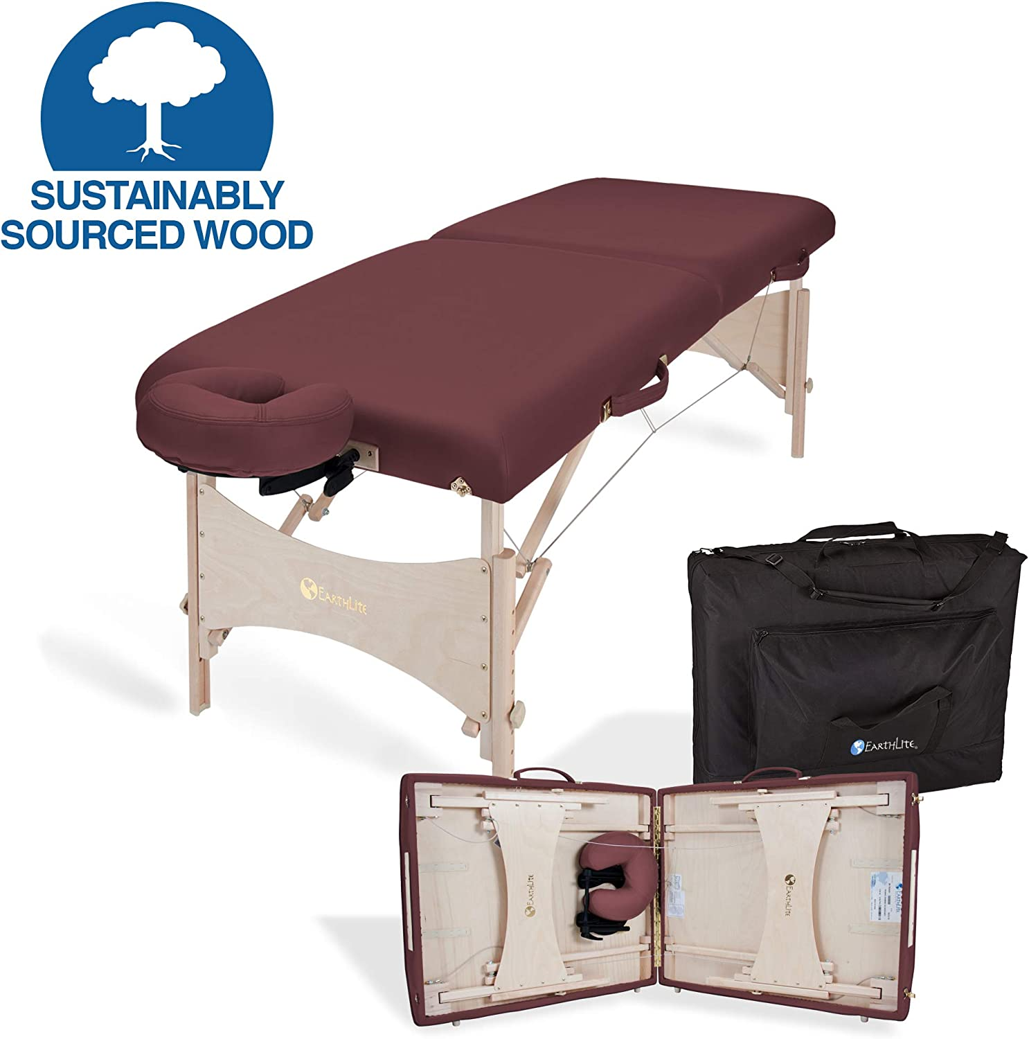 "EARTHLITE Portable Massage Table HARMONY DX – Foldable Physiotherapy/Treatment/Stretching Table, Eco-Friendly Design, Hard Maple, Superior Comfort incl. Face Cradle & Carry Case (30"" x 73"")"
