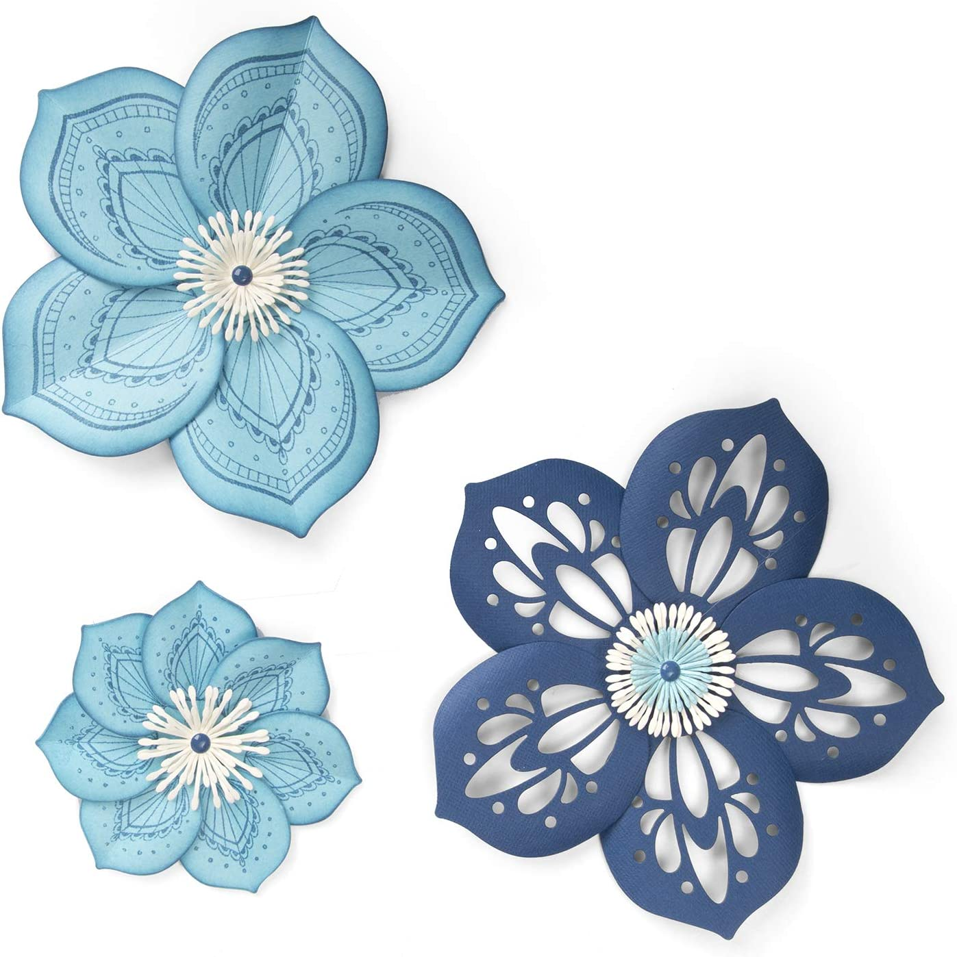 Sizzix Framelits Die Set with Stamps, Rosette Flower by David Tutera (5-Pack), Multicolor