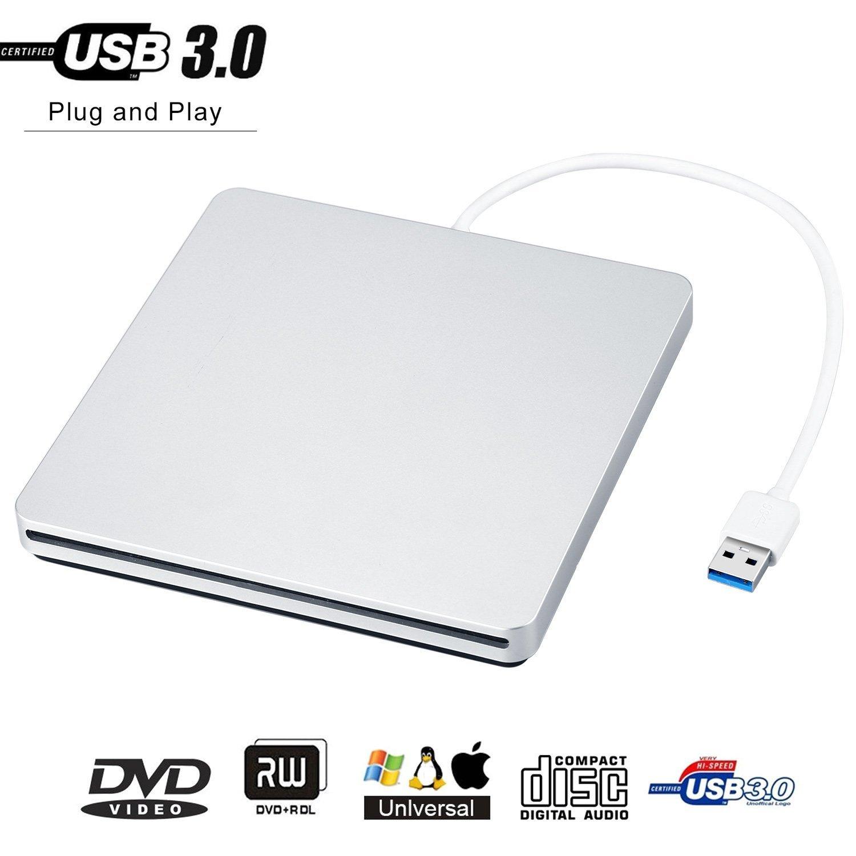 GEEKLIN External CD Drive,USB 3.0 CD/DVD-RW Drive, Slim High Speed CD Player Burner for Macbook Air Pro/Air/iMac and Laptop Desktops Support Windows/Vista/7/8.1/10, Mac OSX