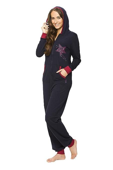 maluuna - Mono pijama de mujer con puños en las mangas y bajos fruncidos: Amazon.es: Ropa y accesorios