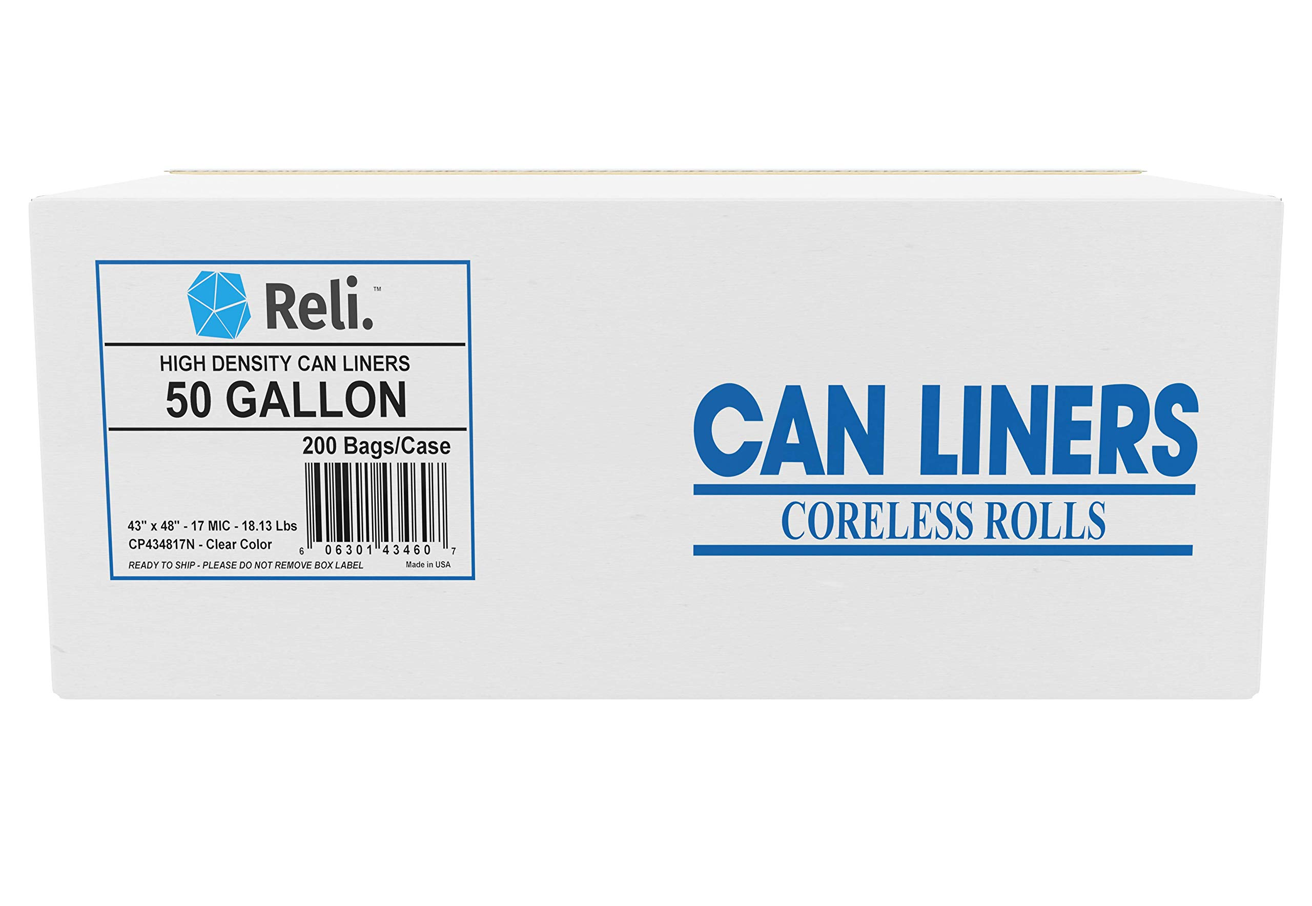 Reli. Trash Bags, 50 Gallon (200 Count) (Clear) Star Seal High Density - Easy Grab Rolls - Can Liners, Garbage Bags with 45 Gallon (45 Gal) - 50 Gallon (50 Gal) Capacity by Reli.