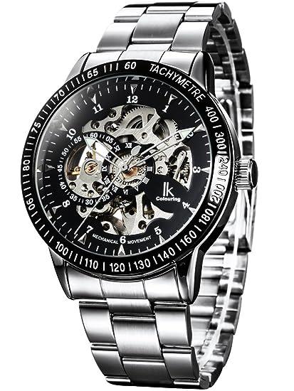 Alienwork IK Reloj Mecánico Automático Relojes Automáticos Hombre Mujer Acero Inoxidable Plata Analógicos Unisex Negro Impermeable: Amazon.es: Relojes