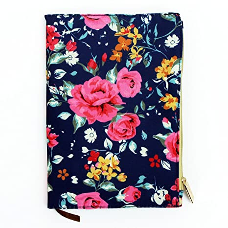 Amazon.com : Augusta Floral Rose Canvas Like 5.5 X 8 Inch Journal With  Zipper Pouch Cover : Office Products
