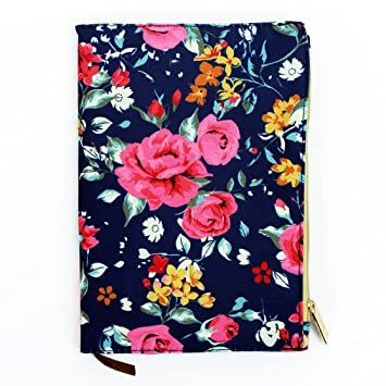 Augusta Floral Rose Canvas Like 5.5 X 8 Inch Journal With Zipper Pouch  Cover And